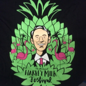 8th annual hmf black T-shirt harvey milk festival